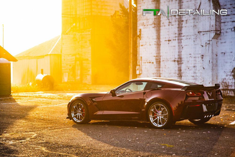FTA Detailing Corvette Maroon Side Sun